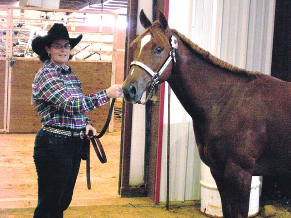 2005 Invitational colt, pictured July 30 2006 with Lisa Salter in ApHC show at Alvarado TX (won points in Longeline)